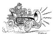 (A man speeding in a vintage car blows on an enormous horn)