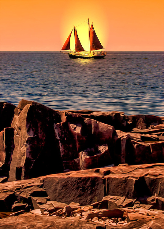 Beyond the rocky shore, a  sailboat goes by through blue waters at sunset on Lake Superior in Grand Marais, Minnesota Harbor.