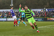Forest Green Rovers Christian Doidge(9) scores a goal 1-0 and celebrates during the The FA Cup match between Forest Green Rovers and Exeter City at the New Lawn, Forest Green, United Kingdom on 2 December 2017. Photo by Shane Healey.