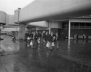 07/05/1976<br /> 05/07/1976<br /> 07 May 1976<br /> Irish Rugby team leave Dublin Airport for New Zealand Tour. The team and officials about to board the plane.