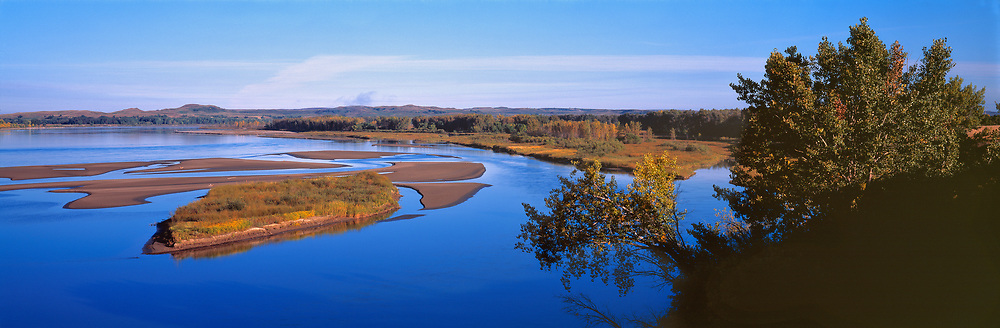 The sky and Missouri River share the same dreamy hue, in the Baldwin area of North Dakota