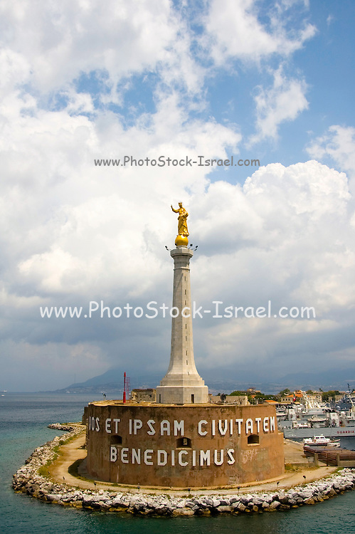 The Virgin Mary statue at the entrance to the port of Messina at Messina sicily, Itay