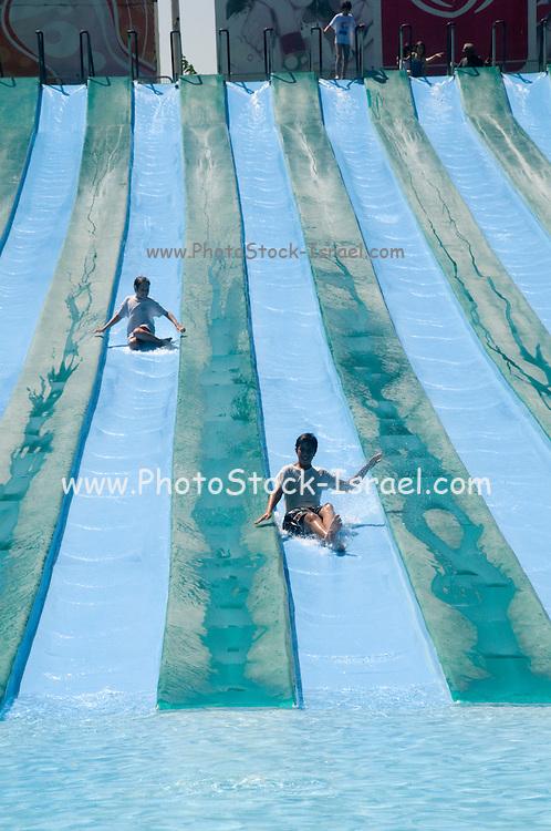 Israel, Sfaim water Park, summer fun on water slides