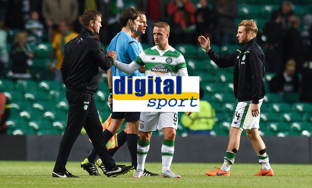 29/07/15 UEFA CHAMPIONS LEAGUE 3RD RND QUALIFIER 1ST LEG<br /> CELTIC v QARABAG FK<br /> CELTIC PARK - GLASGOW<br /> Celtic manager Ronny Deila (left) shakes hands with Leigh Griffiths at full-time