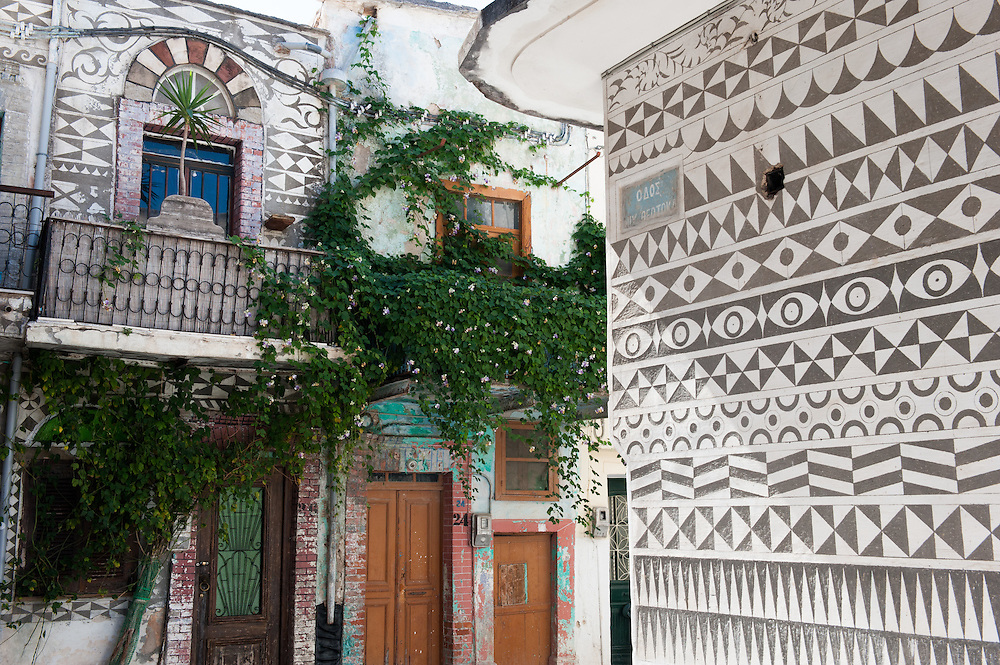"""House covered with xysta (sgraffito) decorative motives in the village of Pyrgi, Mastichochoria of Chios. <br /> <br /> Pyrgi in Chios is known as the """"painted village"""" on account of the decoration of the houses. The village still keeps its medieval style and together with the other Mastichochoria (Mastic Villages) are in the list of the Intangible Cultural Heritage of Humanity of UNESCO"""