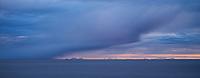 Approaching winter storm conceals Norwegian mainland across Vestfjord, Moskenesøy, Lofoten Islands, Norway