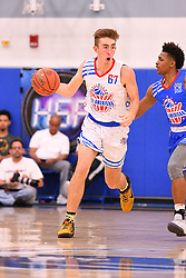 June 3, 2018 - Norwalk, CA, U.S. - NORWALK, CA - JUNE 03: Jake Kyman from Santa Margarita High School dribbles the ball up the court during the Pangos All-American Camp on June 3, 2018 at Cerritos College in Norwalk, CA. (Photo by Brian Rothmuller/Icon Sportswire) (Credit Image: © Brian Rothmuller/Icon SMI via ZUMA Press)