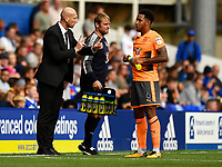 Reading manager Jaap Stam gives instructions to Reading's Liam Moore (right) from the technical area<br /> <br /> Birmingham City 0 - Reading 2<br /> <br /> Photographer David Horton/CameraSport<br /> <br /> The EFL Sky Bet Championship - Birmingham City v Reading - Saturday 26th August 2017 - St Andrew's - Birmingham<br /> <br /> World Copyright © 2017 CameraSport. All rights reserved. 43 Linden Ave. Countesthorpe. Leicester. England. LE8 5PG - Tel: +44 (0) 116 277 4147 - admin@camerasport.com - www.camerasport.com
