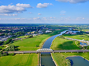Nederland, Gelderland, Arnhem, 14–05-2020; verkeersbrug gecombineerd met spoorbrug over de IJssel bij Westervoort.<br /> Road bridge combined with railway bridge over the IJssel at Westervoort.<br /> <br /> luchtfoto (toeslag op standaard tarieven);<br /> aerial photo (additional fee required)<br /> copyright © 2020 foto/photo Siebe Swart