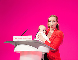 Labour Party Conference<br /> at Manchester Central, Manchester, Great Britain <br /> 24th September 2014 <br /> <br /> Catherine Atkinson with her 3 month old baby Jacob <br /> speaking in the Health & Care debate <br /> PPC for Erewash <br /> <br /> Photograph by Elliott Franks <br /> Image licensed to Elliott Franks Photography Services