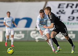 Marcus Gudmann (Kolding IF) og Teddy Bergqvist (FC Helsingør) under kampen i 1. Division mellem FC Helsingør og Kolding IF den 24. oktober 2020 på Helsingør Stadion (Foto: Claus Birch).