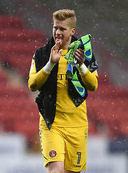 Charlton Athletic goalkeeper Ben Amos applauds the fans after the final whistle