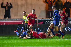 Scarlets' Paul Asquith scores his sides first try<br /> <br /> Photographer Craig Thomas/Replay Images<br /> <br /> Guinness PRO14 Round 17 - Scarlets v Leinster - Friday 9th March 2018 - Parc Y Scarlets - Llanelli<br /> <br /> World Copyright © Replay Images . All rights reserved. info@replayimages.co.uk - http://replayimages.co.uk