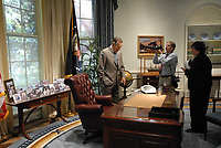 Jack Gruber and USA TODAY's Susan Page with President George H.W. Bush at his library in College Station, TX.