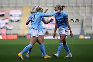 Goal 0-1 Manchester City forward Chloe Kelly (9) scores a goal 0-1 and celebrates  during the FA Women's Super League match between Manchester United Women and Manchester City Women at Leigh Sports Village, Leigh, United Kingdom on 14 November 2020.