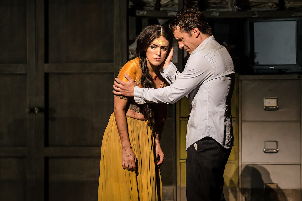 """LONDON, UK, 17 October, 2016.  Jacques Imbrailo (right, as """"Zurga"""") and Claudia Boyle (left, as """"Leila"""") rehearse for the revival of director Penny Woolcock's production of Bizet's opera """"The Pearl Fishers"""" at the London Coliseum for the English National Opera.  The production opens on 19 October."""