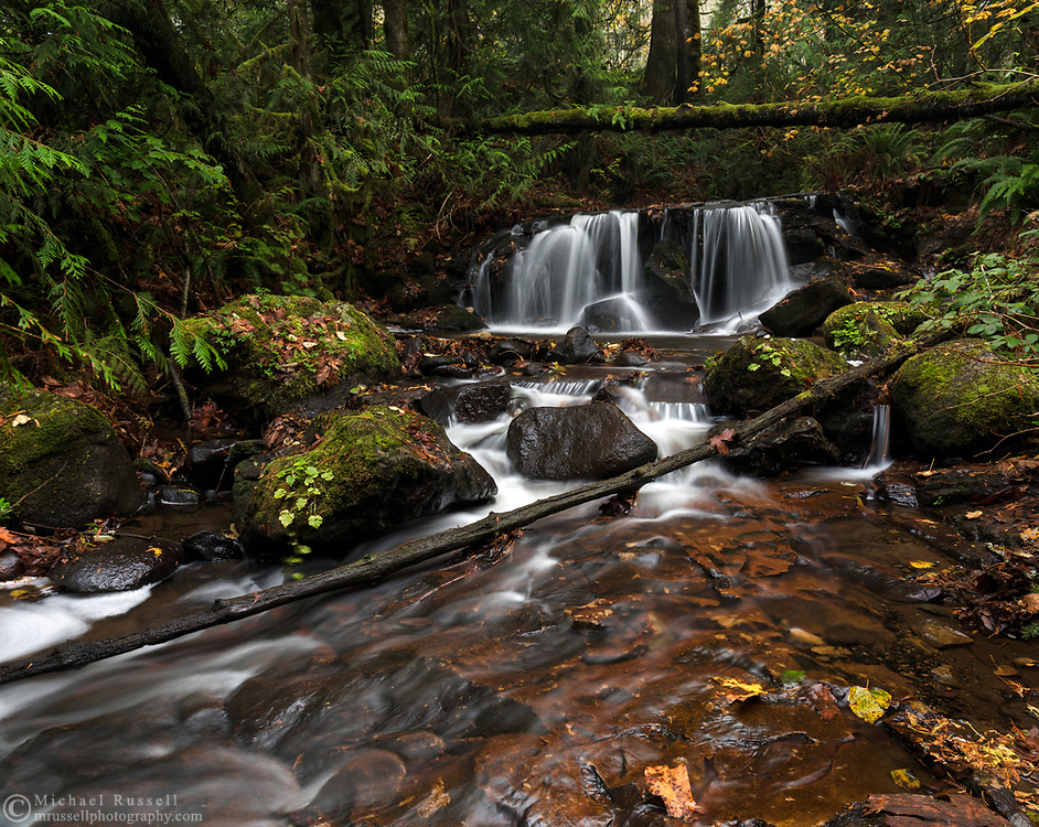 A waterfall along Poignant Creek on the slopes of Sumas Mountain in Abbotsford, British Columbia, Canada