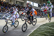 #1 (SMULDERS Laura) NED and #3 (BAAUW Judy) NED at Round 2 of the 2019 UCI BMX Supercross World Cup in Manchester, Great Britain