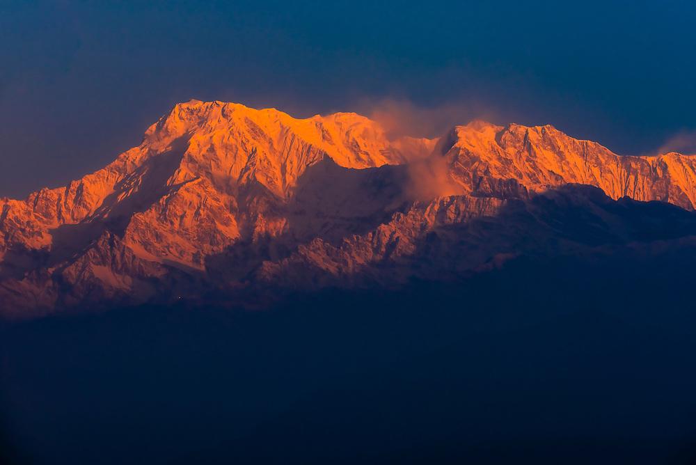 Annapurna South, Annapurna 1, Hiunchuli, peaks of the Annapurna Massif of the Himalayas, seen from Sarangkot,  near Pokhara, Nepal.