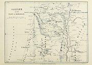Ancient 19th century map of Galilee and the Plain of Esdraelon [Jezreel Valley or  Valley of Megiddo] from the book Palestine illustrated by Sir Richard Temple, 1st Baronet, GCSI, CIE, PC, FRS (8 March 1826 – 15 March 1902) was an administrator in British India and a British politician. Published in London by W.H. Allen & Co. in 1888