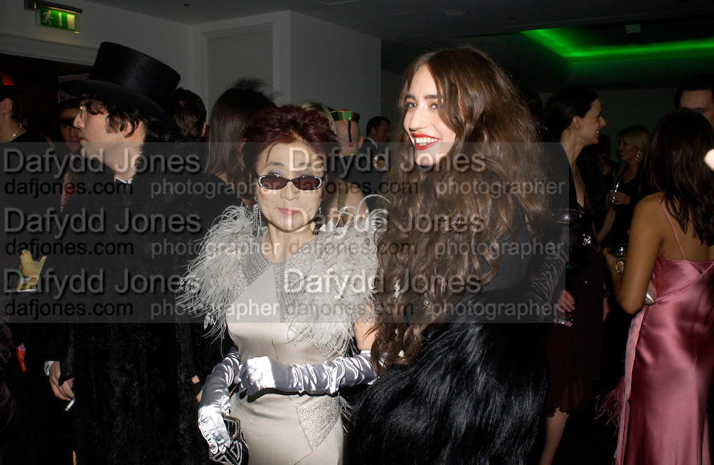 Sean Lennon,  Yoko Ono and  and Elizabeth Jagger. Andy & Patti Wong's Chinese New Year party to celebrate the year of the Rooster held at the Great Eastern Hotel, Liverpool Street, London.29th January 2005. The theme was a night of hedonism in 1920's Shanghai. . ONE TIME USE ONLY - DO NOT ARCHIVE  © Copyright Photograph by Dafydd Jones 66 Stockwell Park Rd. London SW9 0DA Tel 020 7733 0108 www.dafjones.com