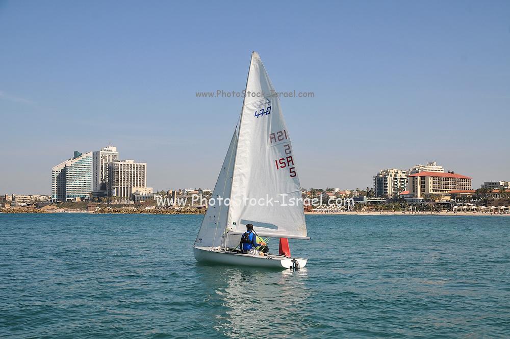 Sail boat in the Mediterranean Sea. Photographed in Israel, Herzlya