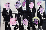 "Bankers as pigs and Boris Johnson. Occupy London protest at St Pauls, October 16th 2011. Protest spreads from the US with this demonstrations in London and other cities worldwide. The 'Occupy' movement is spreading via social media. After four weeks of focus on the Wall Street protest, the campaign against the global banking industry started in the UK this weekend, with the biggest event aiming to ""occupy"" the London Stock Exchange. The protests have been organised on social media pages that between them have picked up more than 15,000 followers. Campaigners gathered outside  at midday before marching the short distance to Paternoster Square, home of the Stock Exchange and other banks.It is one of a series of events planned around the UK as part of a global day of action, with 800-plus protests promised so far worldwide.Paternoster Square is a private development, giving police more powers to not allow protesters or activists inside."