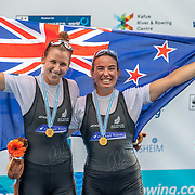 Olivia Loe (Avon RC) and Brooke Donoghue (Waikato RC) NZ Womens Double Scull<br />     <br /> Finals races at the World Championships, raced on the Regattastrecke, Linz Ottensheim, Austria. Sunday 1 September 2019  © Copyright photo Steve McArthur / www.photosport.nz