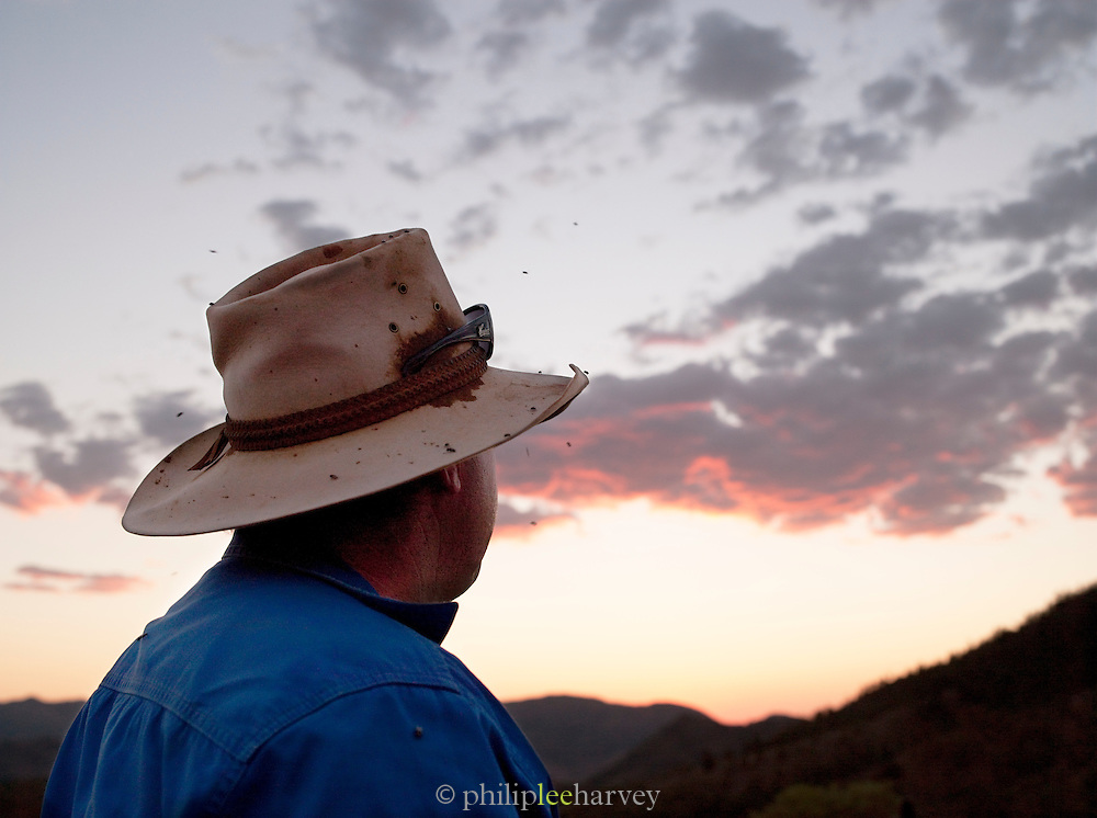 Rancher looking into the distant sunset, Flinders Ranges, South Australia, Australia