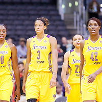 22 June 2014: forward Nneka Ogwumike (30) of the Los Angeles Sparks, forward/center Candace Parker (3) of the Los Angeles Sparks, guard/forward Armintie Herrington (22) of the Los Angeles Sparks, center Jantel Lavender (42) of the Los Angeles Sparks are seen during the San Antonio Stars 72-69 victory over the Los Angeles Sparks, at the Staples Center, Los Angeles, California, USA.