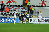 Stoke city 's players celebrate after Charlie Adam  scores his sides 3rd goal from a penalty to end match 3-3.  Barclays Premier league, Swansea city v Stoke city at the Liberty Stadium in Swansea, South Wales on Sunday 10th November 2013. pic by Andrew Orchard, Andrew Orchard sports photography,