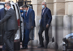 © Licensed to London News Pictures. 10/09/2020. London, UK. European Chief Brexit negotiator Michel Barnier (R) and European Commission Vice President Maros Sefcovic  (2R) are seen leaving Lancaster House in central London. Also seen leaving were Cabinet Minister Michael Gove and UK Chief Brexit negotiator Lord Frost. A second day of negotiations between the UK Government and the EU has now started at the Business Department in Victoria Street. Photo credit: Peter Macdiarmid/LNP