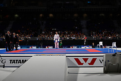 November 10, 2018 - Madrid, Madrid, Spain - Kvesic Ivan (CRO) win the gold medal and win the tournament of male Kumite -84 Kg, without participation of Chobotar Valerii (UKR) who get the silver medal and second place of the tournament, during the Finals of Karate World Championship celebrates in Wizink Center, Madrid, Spain, on November 10th, 2018. (Credit Image: © AFP7 via ZUMA Wire)