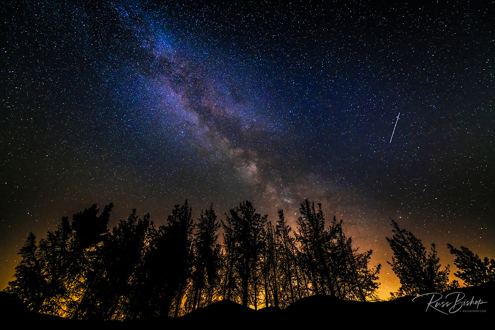 The Milky Way and Perseid meteors over Rose Valley, Los Padres National Forest, California USA