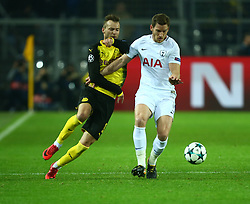 November 21, 2017 - Dortmund, Germany - Tottenham Hotspur's Jan Vertonghen under pressure from Andriy Yarmolenko of Borussia DortmundDortmund  during UEFA Champion  League Group H Borussia Dortmund between Tottenham Hotspur played at Westfalenstadion, Dortmund, Germany 21 Nov 2017  (Credit Image: © Kieran Galvin/NurPhoto via ZUMA Press)