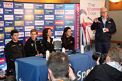 ©Licensed to London News Pictures. 06/05/2014<br /> Kettering Hotel, Kettering, Northamptonshire . Giorgia Bronzini, Emma Johannson, Marianne Vos and Lizzie Armitstead along with race director Mick Bennett at The Friends Life Womens Tour of Britain press conference.<br /> Photo credit: Steven Prouse/ LNP
