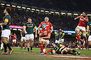 Justin Tipuric of Wales (c) celebrates after he scores his teams 2nd try.  Under Armour 2016 series international rugby, Wales v South Africa at the Principality Stadium in Cardiff , South Wales on Saturday 26th November 2016. pic by Andrew Orchard, Andrew Orchard sports photography