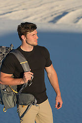 good looking man hiking outdoors