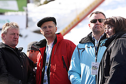 Slovenian minister for sport Igor Luksic, Andrej Kocic general manager of Zavarovalnica Triglav and Minister of defense dr. Ljubica Jelusic at Flying Hill Team in 3rd day of 32nd World Cup Competition of FIS World Cup Ski Jumping Final in Planica, Slovenia, on March 21, 2009. (Photo by Vid Ponikvar / Sportida)