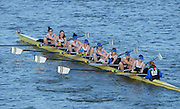 London, United Kingdom. Queen University Ladies BC A Crew.  Belfast {IRL}  from Barnes Rail Bridge, 2014 Women's Head of the River Race. Chiswick to Putney, River Thames.  Saturday  15/03/2014    [Mandatory Credit; Peter Spurrier/Intersport-images]