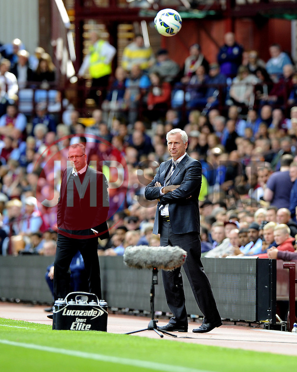 Aston Villa Manager, Paul Lambert (left) and Newcastle United Manager, Alan Pardew (right) - Photo mandatory by-line: Joe Meredith/JMP - Mobile: 07966 386802 23/08/2014 - SPORT - FOOTBALL - Birmingham - Villa Park - Aston Villa v Newcastle United - Barclays Premier League