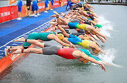 England's Jonathan Brownlee (left) at the start of the Men's Triathlon Final at the Southport Broadwater Parklands during day one of the 2018 Commonwealth Games in the Gold Coast, Australia.