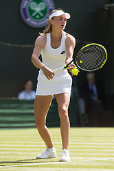 © Licensed to London News Pictures. 03/07/2018. London, UK. Aliaksandra Sasnovich of Belarus plays Petra Kvitova of the Czech Republic in the women's singles 1st round draw of the Wimbledon Tennis Championships 2018, Day 2. Photo credit: Ray Tang/LNP. Photo credit: Ray Tang/LNP
