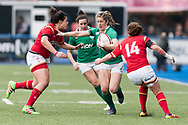 Alison Miller of Ireland hands off Rebecca de Filippo (l) and hits the shoulder of Elen Evans of Wales.<br /> RBS Womens Six Nations 2017 international rugby, Wales women v Ireland women at the BT Sport Cardiff Arms Park in Cardiff , South Wales on Saturday 11th March 2017.  pic by Simon Latham, Andrew Orchard sports photography