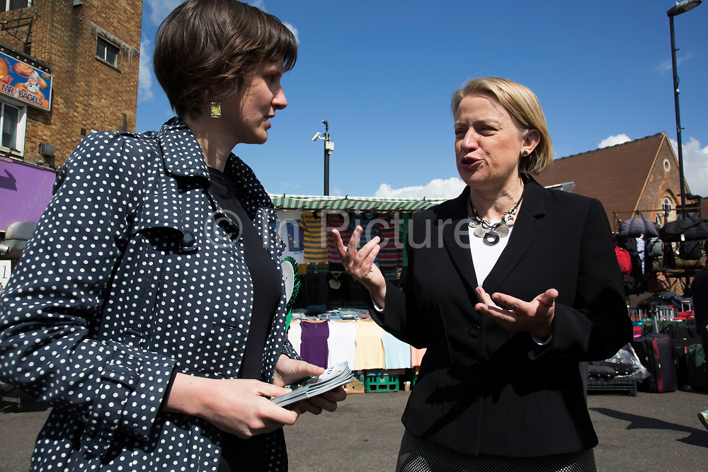 London, UK. Thursday 30th April 2015. Leader of the Green Party, Natalie Bennett pays a visit to talk to local people at Ridley Road Market in Dalston, Borough of Hackney, at the heart of multicultural East London. Natalie Bennett is an Australian-born British politician and journalist. She was elected to her position as the leader of the Green Party of England and Wales in 2012.