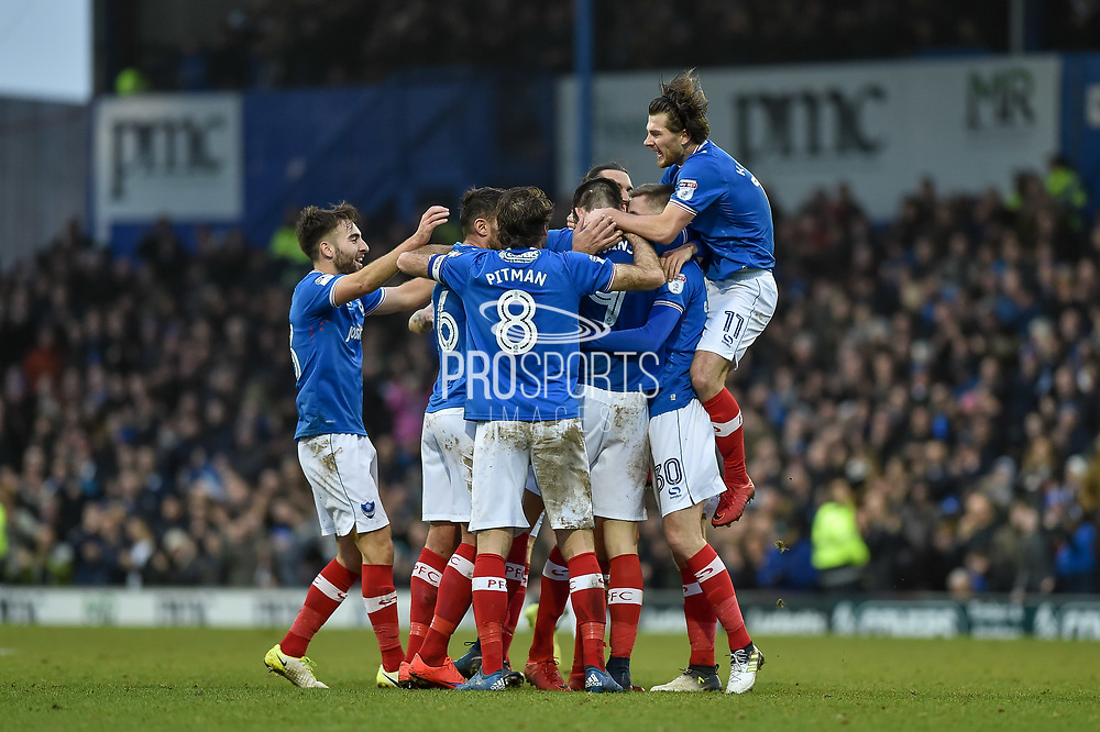 Portsmouth Players Celebrate after Portsmouth Forward, Oliver Hawkins (9) scores a goal with a header during the EFL Sky Bet League 1 match between Portsmouth and Northampton Town at Fratton Park, Portsmouth, England on 30 December 2017. Photo by Adam Rivers.