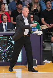 April 10, 2018 - Los Angeles, California, U.S - Head coach,Mike D'Antoni of the Houston Rockets during their NBA game with the Los Angeles Lakers on Tuesday April 10, 2018 at Staples Center in Los Angeles, California. Lakers lose to Rockets, 105-99. (Credit Image: © Prensa Internacional via ZUMA Wire)