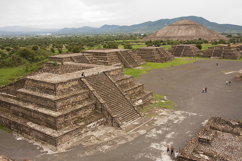 View from the Pyramid of the Moon, or Piramide de la Luna, in the pre-columbian archeological site of Teotihuacan, Mexico state, Mexico.