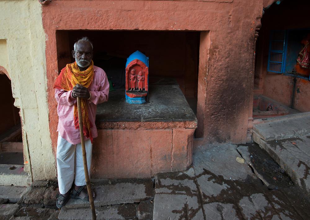 Guardian at hindu shrine, Varanasi, India