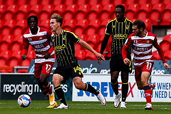 Luke McCormick of Bristol Rovers goes past Jon Taylor of Doncaster Rovers - Mandatory by-line: Robbie Stephenson/JMP - 26/09/2020 - FOOTBALL - The Keepmoat Stadium - Doncaster, England - Doncaster Rovers v Bristol Rovers - Sky Bet League One